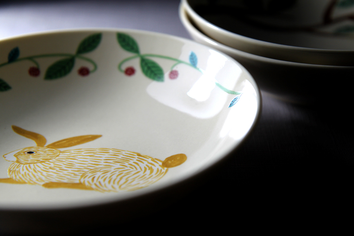 yamaka|松尾美雪-鳥、兔子、狐狸碗盤三件組