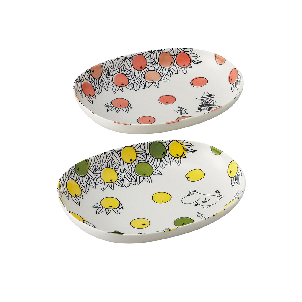 yamaka MOOMIN嚕嚕米柑橘系列-2入橢圓碗盤組