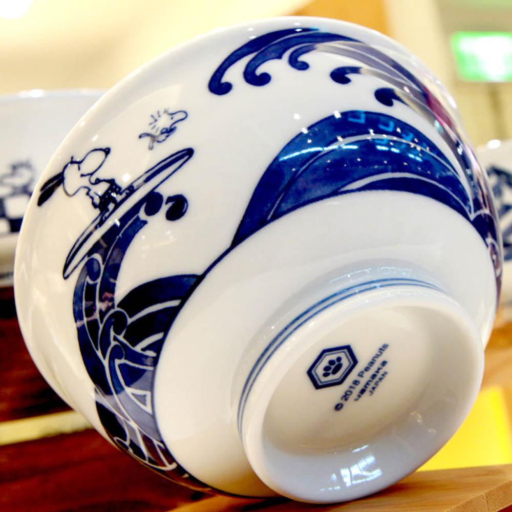 yamaka SNOOPY史努比和風藍系列大碗(衝浪)14.5cm