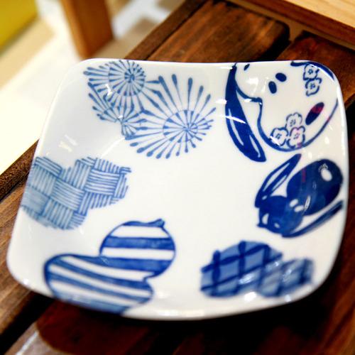 yamaka|SNOOPY史努比和風藍系列SNOOPY史努比方盤五入組