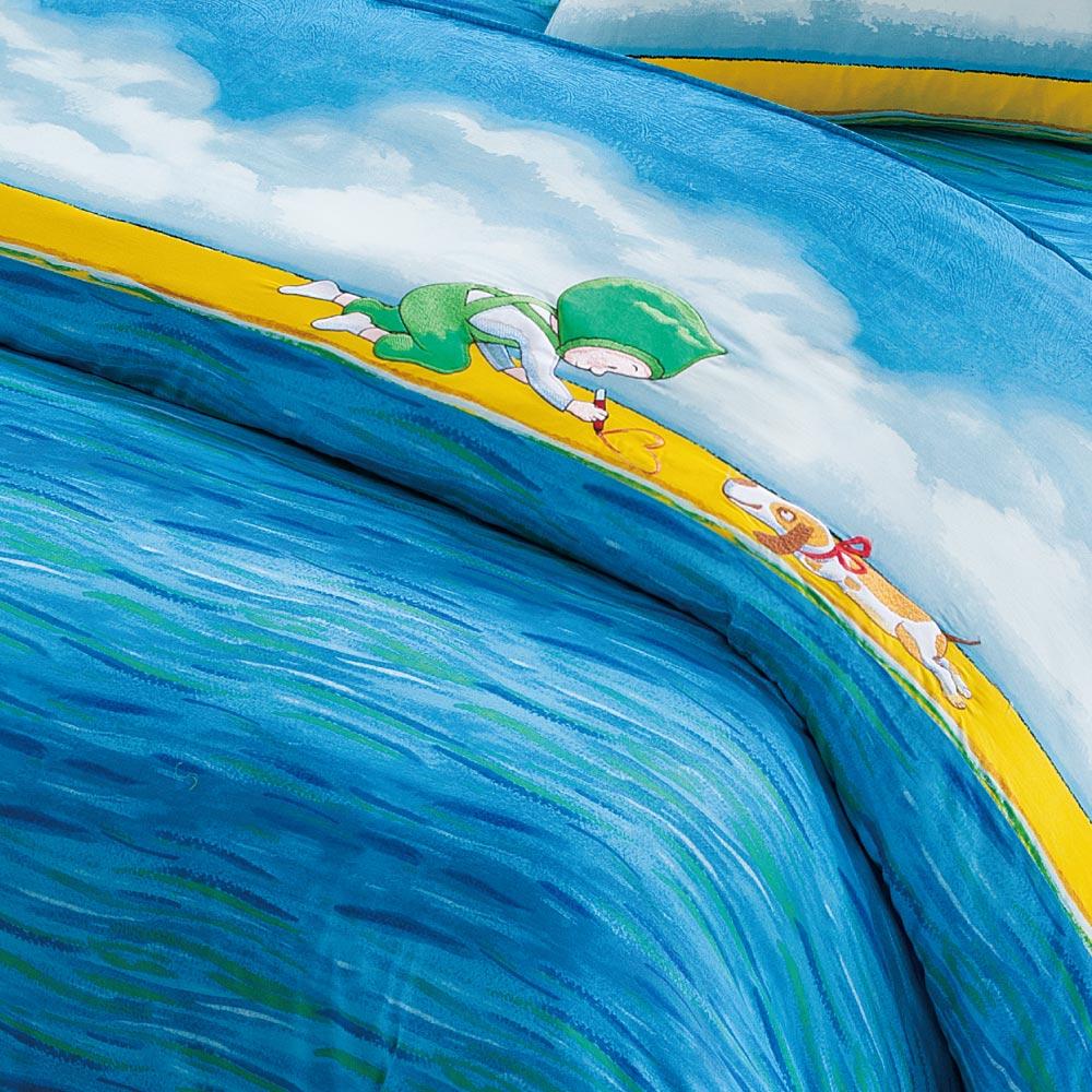 Kidult|忘記親一下 海洋男孩 兩用被床包組 - 雙人加大