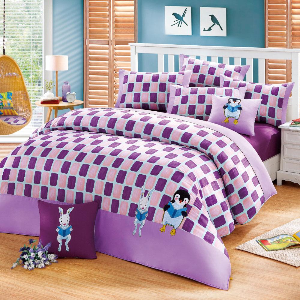 Kidult 忘記親一下 親親企鵝 兩用被床包組 - 雙人加大