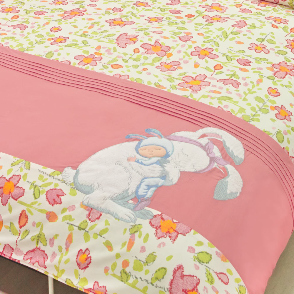 Kidult  擁抱兔子 兩用被床包組 - 單人(內贈+ 擁抱兔子腰枕)
