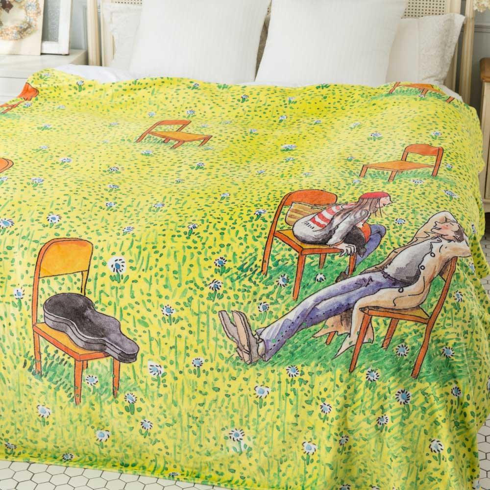 Kidult|草地談天法  數位印染  法蘭絨 四季毯
