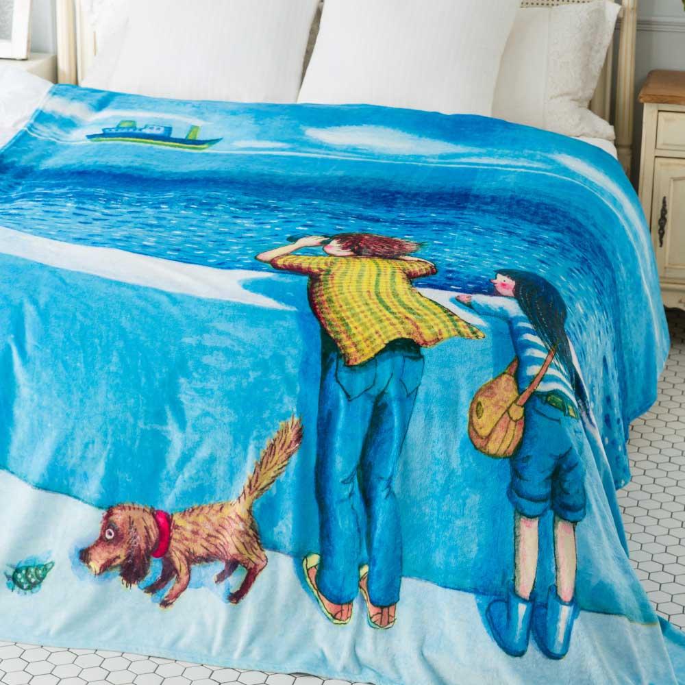 Kidult|遠眺海洋  數位印染  法蘭絨 四季毯