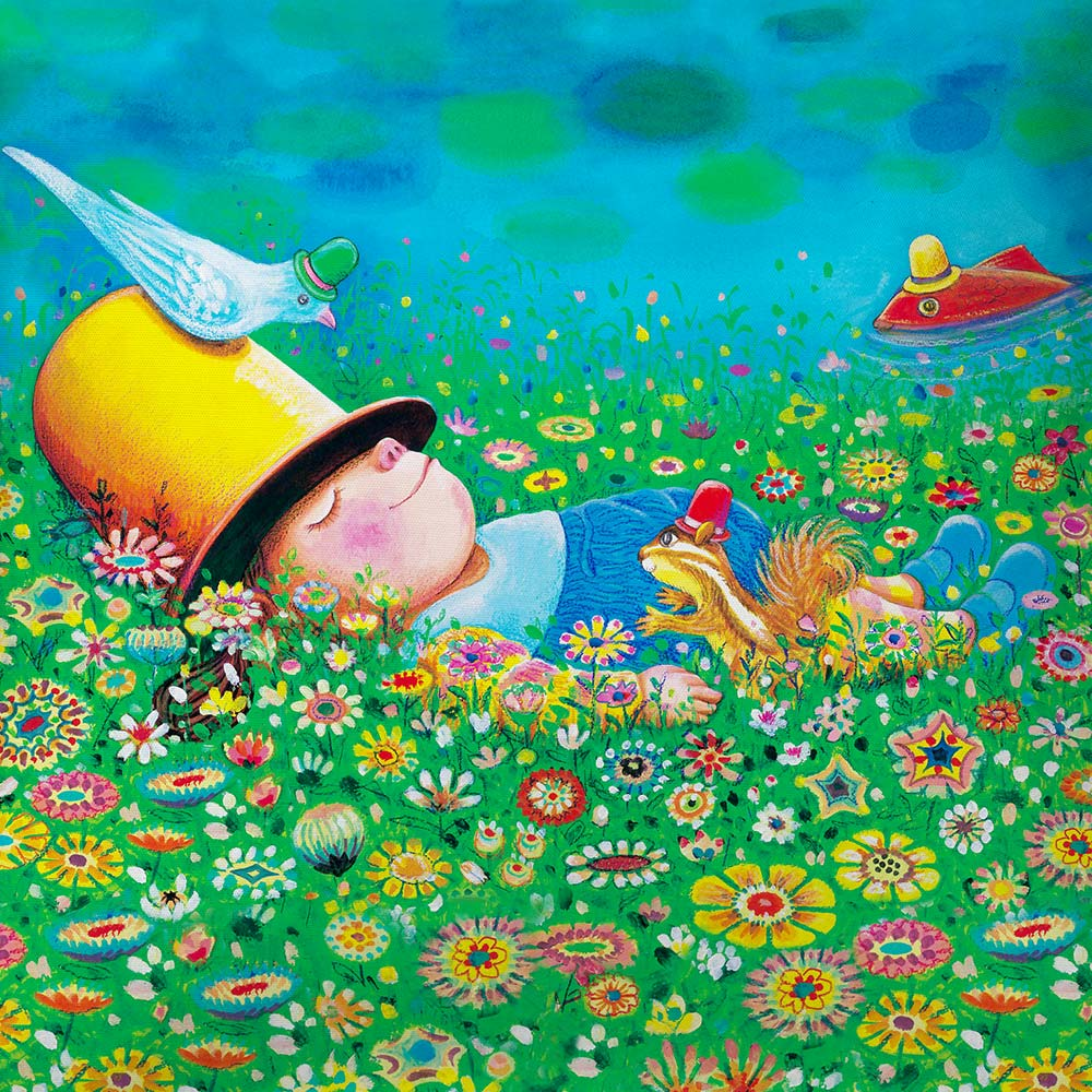 Kidult|閉上眼睛一下下  草地幻想  數位抱枕