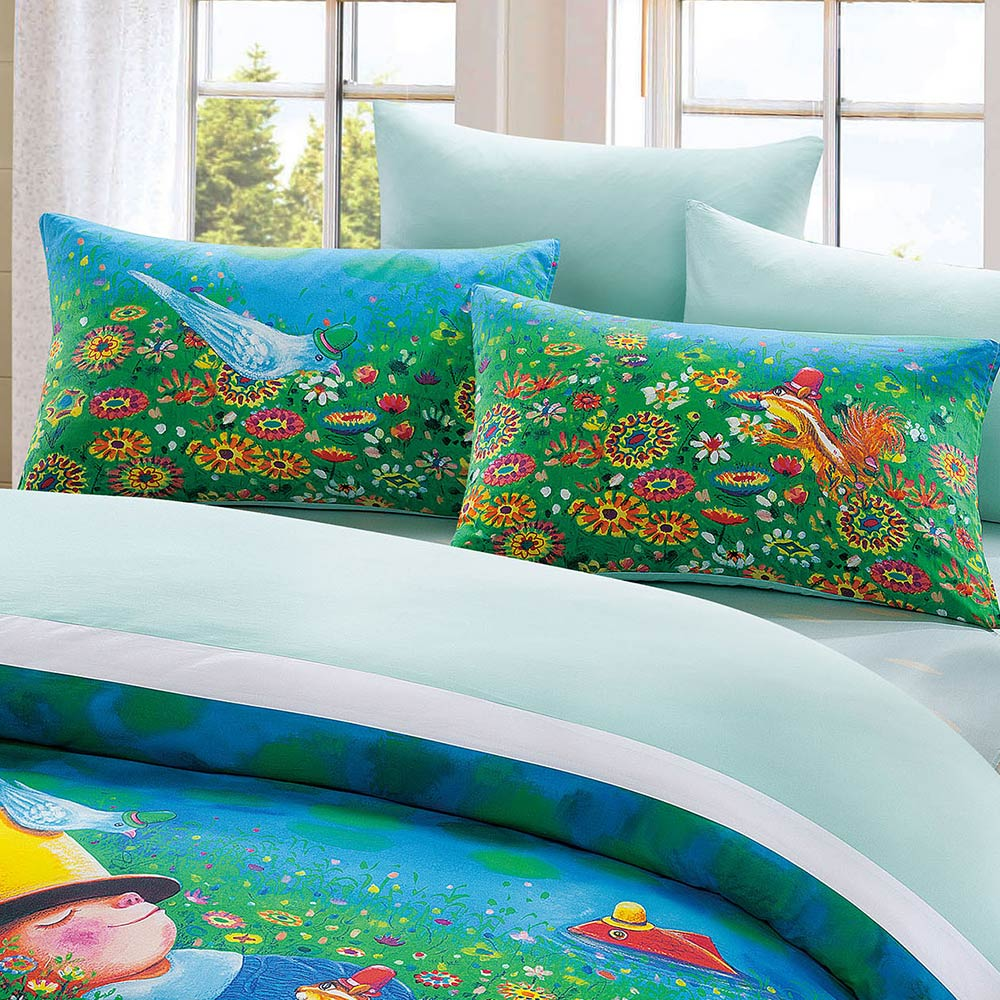 Kidult|閉上眼睛一下下 草地幻想  兩用被床包組 - 雙人