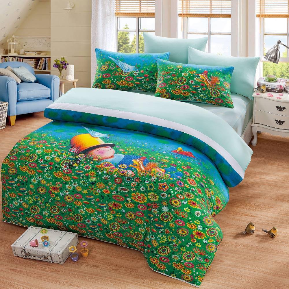 Kidult|閉上眼睛一下下 草地幻想  兩用被床包組 - 雙人加大