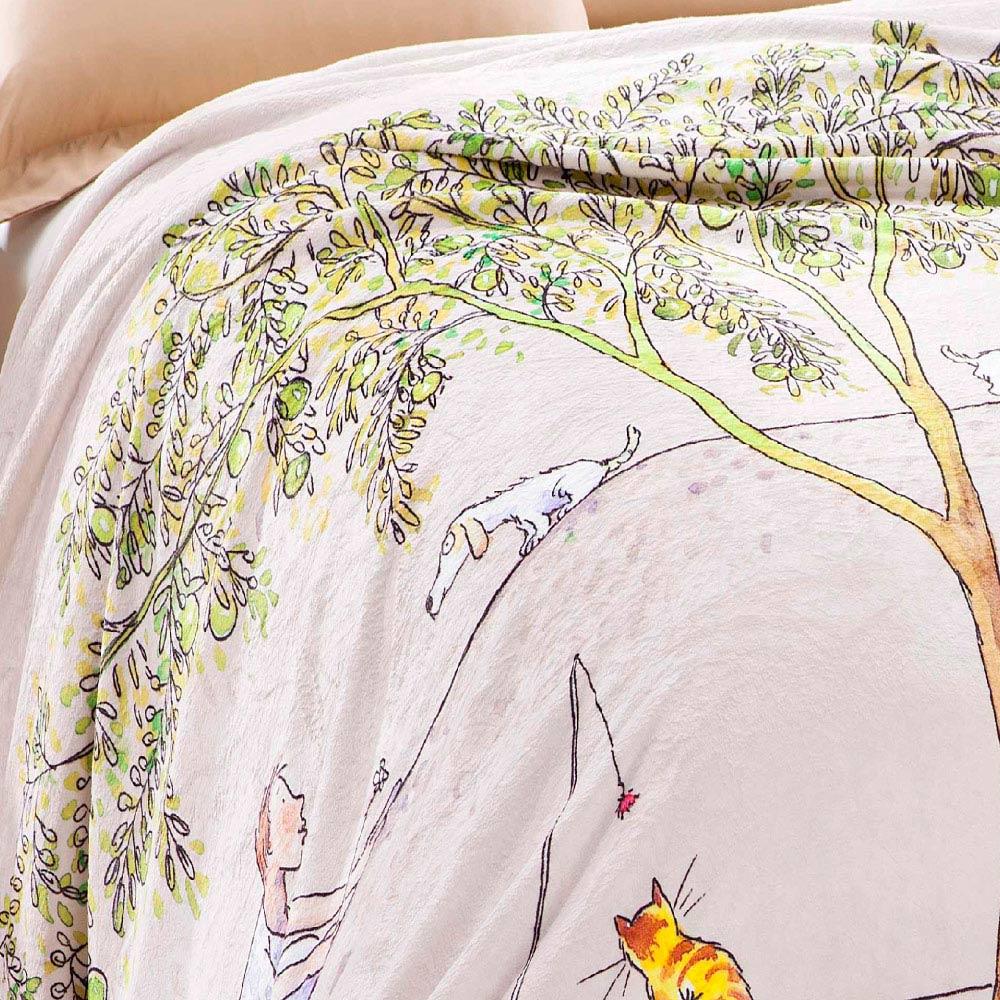 Kidult|向左走向右走  數位印染  法蘭絨 四季毯