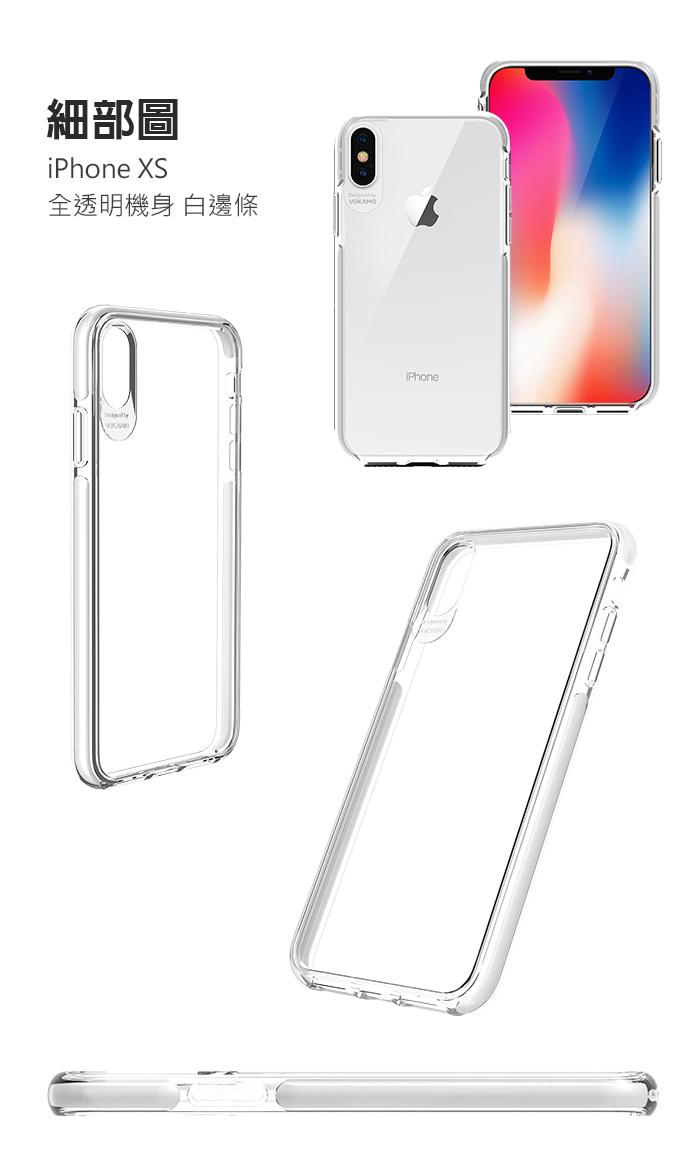 VOKAMO|Smult 美國軍規3.05米防摔晶透手機殼 iPhone XS (5.8吋)專用 -透明強化背蓋(白邊條)