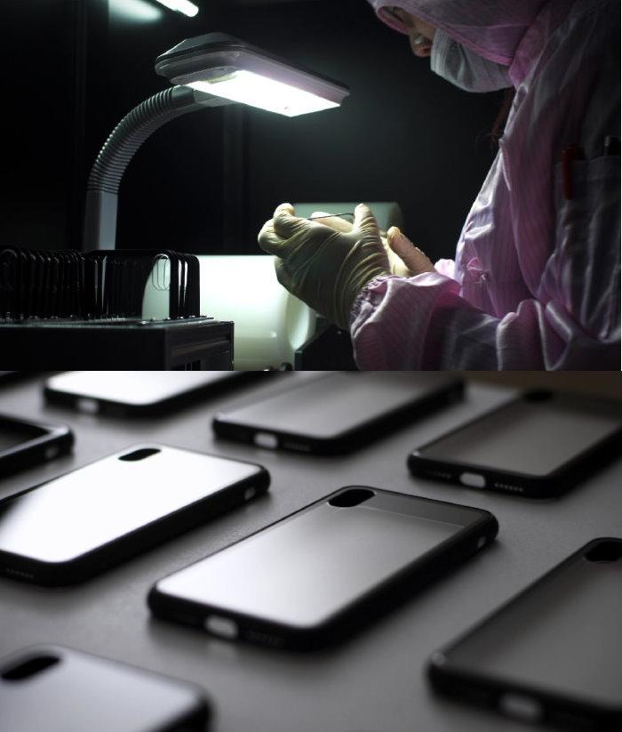 ABSOLUTE|LINKASE AIR iPhone XS/X (5.8吋)專用 美軍規防摔認證9H大猩猩康寧玻璃保護殼-霧黑邊框