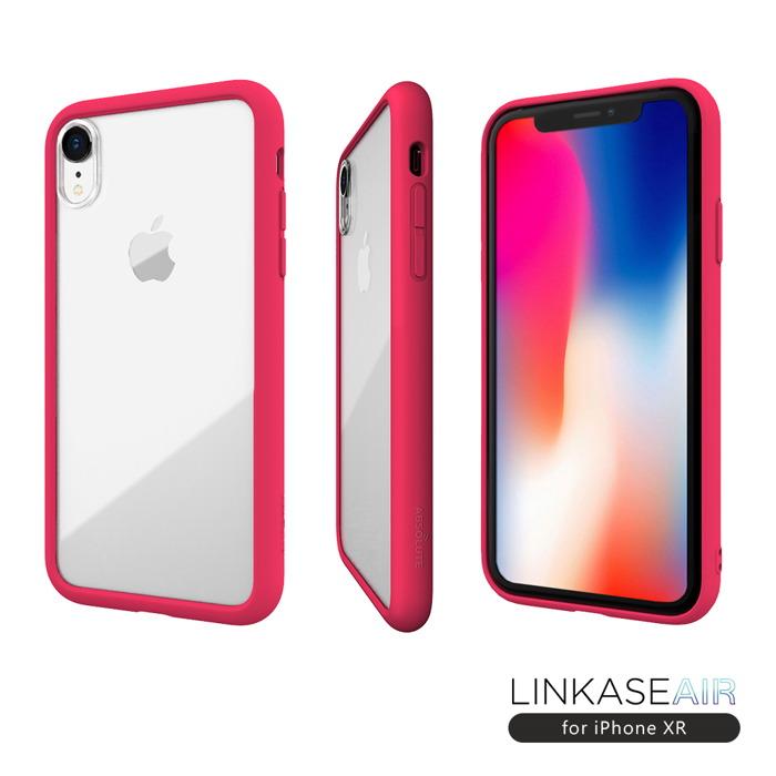 ABSOLUTE|LINKASE AIR iPhone XR(6.1吋)專用 美軍規防摔認證9H大猩猩康寧玻璃保護殼 桃粉邊框