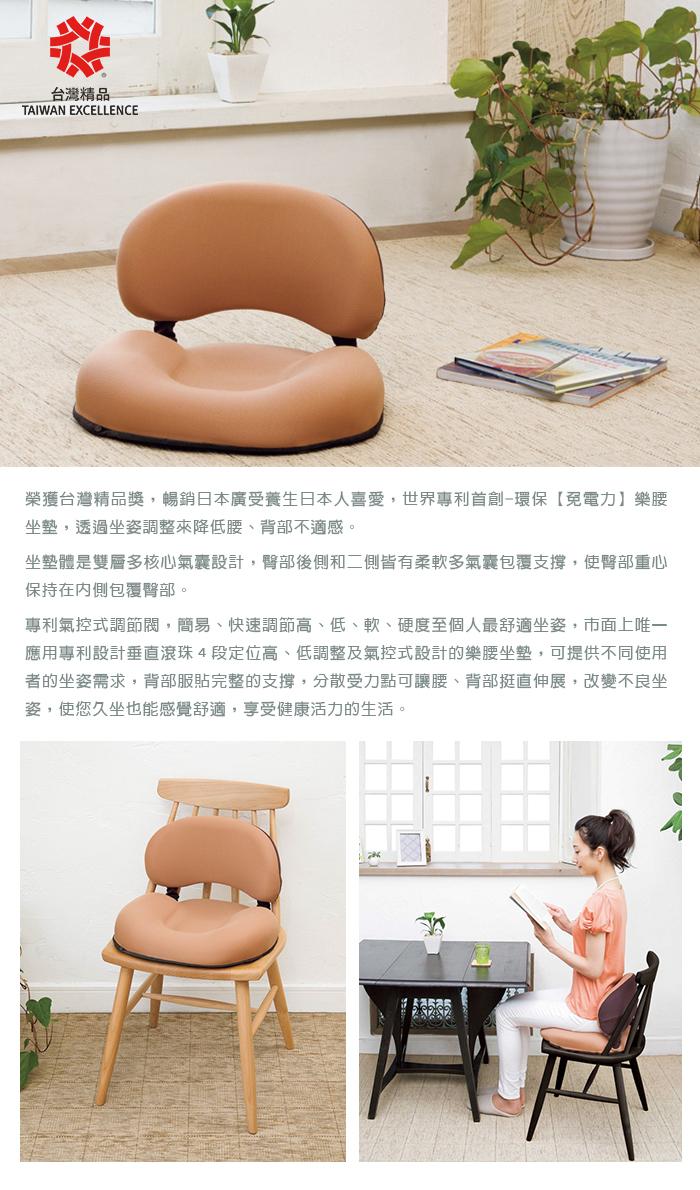 KUONAO|專利快速觸控式雙氣囊樂挺腰坐靠墊(靠墊四段高度可調)