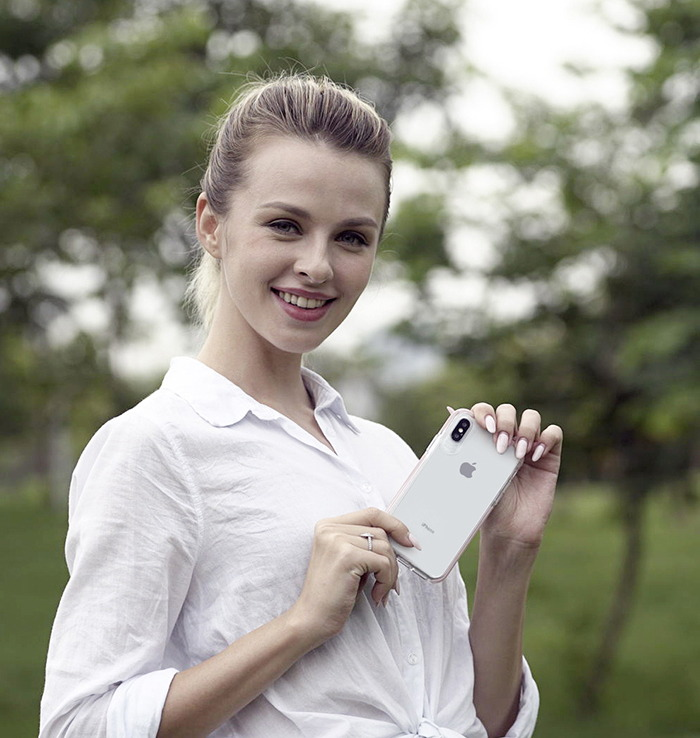 VOKAMO|Smult 美國軍規3.05米防摔晶透手機殼 iPhone XS (5.8吋) 專用 -透明強化背蓋(粉邊條)