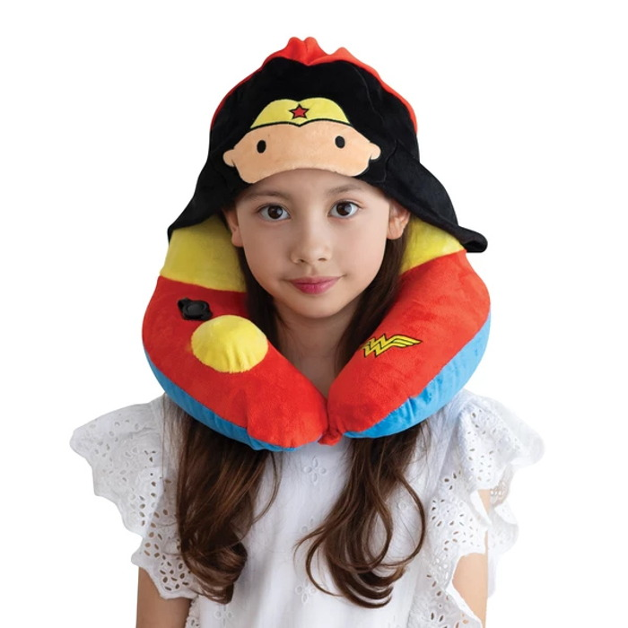 Travelmall|DC正義聯盟授權兒童專用手動按壓式充氣連帽枕-WONDER WOMAN神力女超人