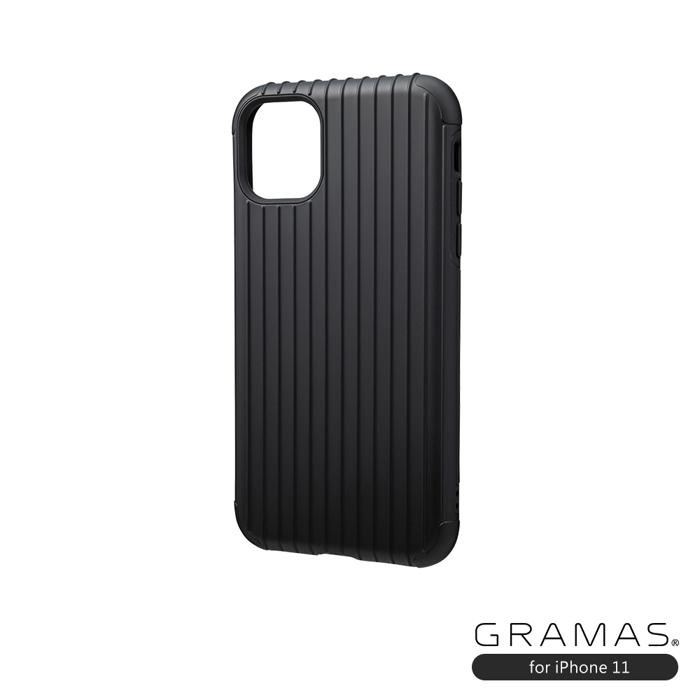 GRAMAS 東京職人工藝iPhone 11 (6.1吋)專用 雙料保護軍規防摔行李箱手機殼-Rib系列(黑)