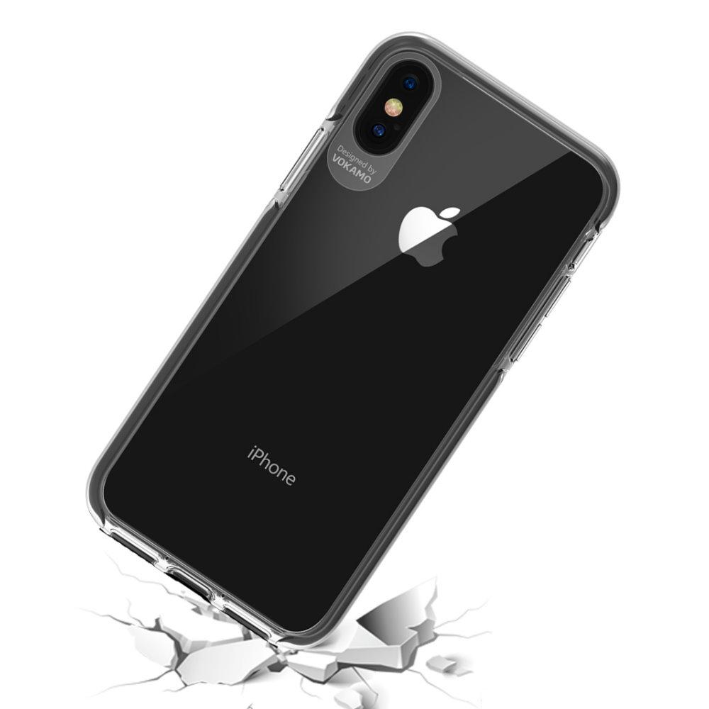 VOKAMO|Smult 美國軍規3.05米防摔晶透手機殼 iPhone XS Max (6.5吋) 專用 -透明強化背蓋(白邊條)