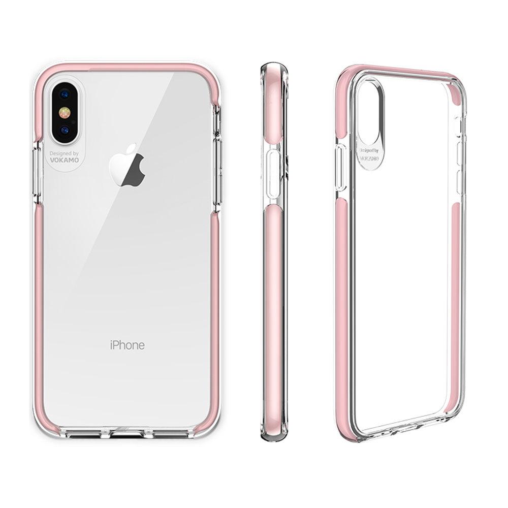 VOKAMO|Smult 美國軍規3.05米防摔晶透手機殼 iPhone XS Max (6.5吋) 專用 -透明強化背蓋(粉邊條)