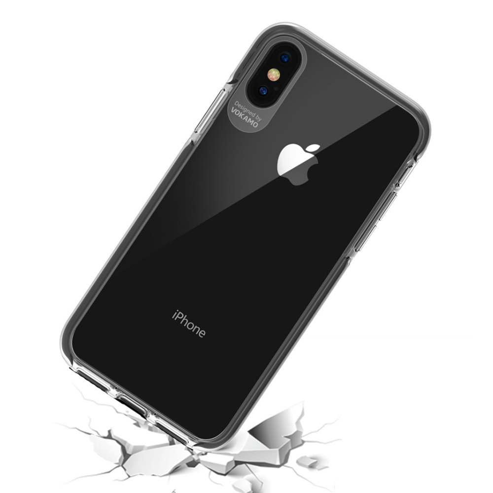VOKAMO|Smult 美國軍規3.05米防摔晶透手機殼 iPhone XS/X (5.8吋) 專用 -透明強化背蓋(白邊條)