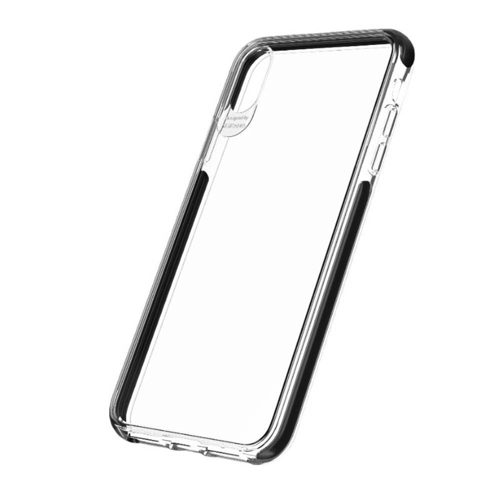 VOKAMO|Smult 美國軍規3.05米防摔晶透手機殼 iPhone XS/X (5.8吋) 專用 -透明強化背蓋(黑邊條)