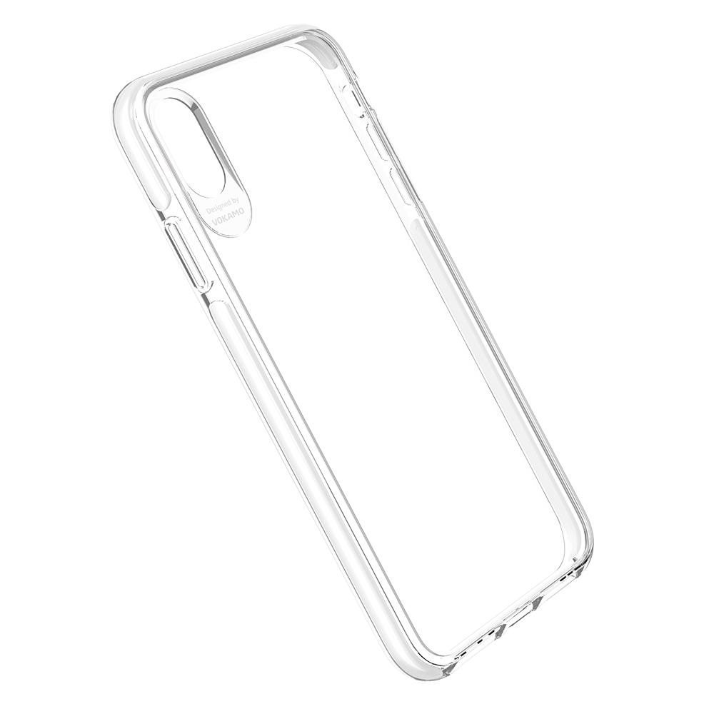 VOKAMO|Smult 美國軍規3.05米防摔晶透手機殼 iPhone XR (6.1吋) 專用 -透明強化背蓋(白邊條)