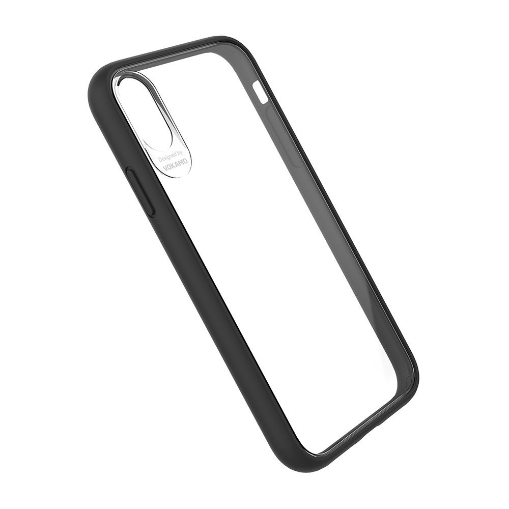 VOKAMO|Graceful 防摔衣原料軍規2.5米防摔透明背蓋手機殼 iPhone XS/X (5.8吋) 專用 -黑邊框
