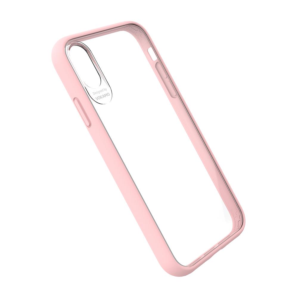 VOKAMO|Graceful 防摔衣原料軍規2.5米防摔透明背蓋手機殼 iPhone XS/X (5.8吋) 專用 -粉邊框