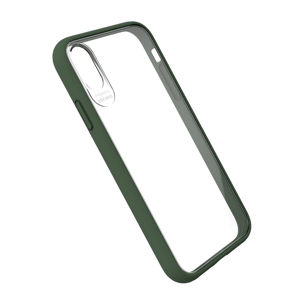 VOKAMO|Graceful 防摔衣原料軍規2.5米防摔透明背蓋手機殼 iPhone XS/X (5.8吋) 專用 -軍綠邊框