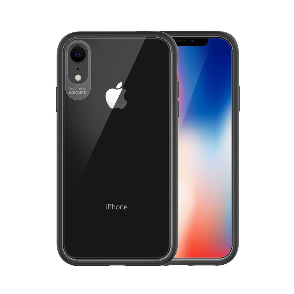 VOKAMO|Graceful 防摔衣原料軍規2.5米防摔透明背蓋手機殼 iPhone XR (6.1吋) 專用 -黑邊框