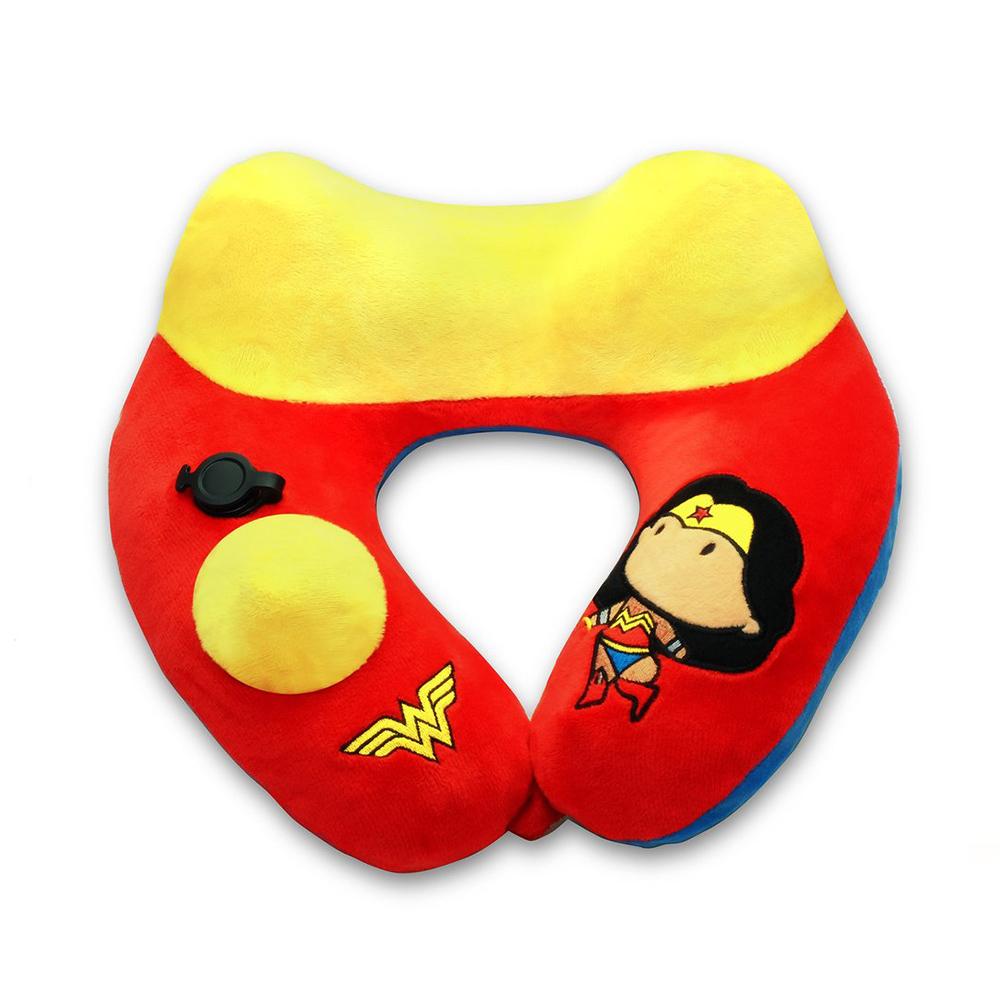 Travelmall DC正義聯盟授權兒童專用手動按壓式充氣枕-WONDER WOMAN神力女超人