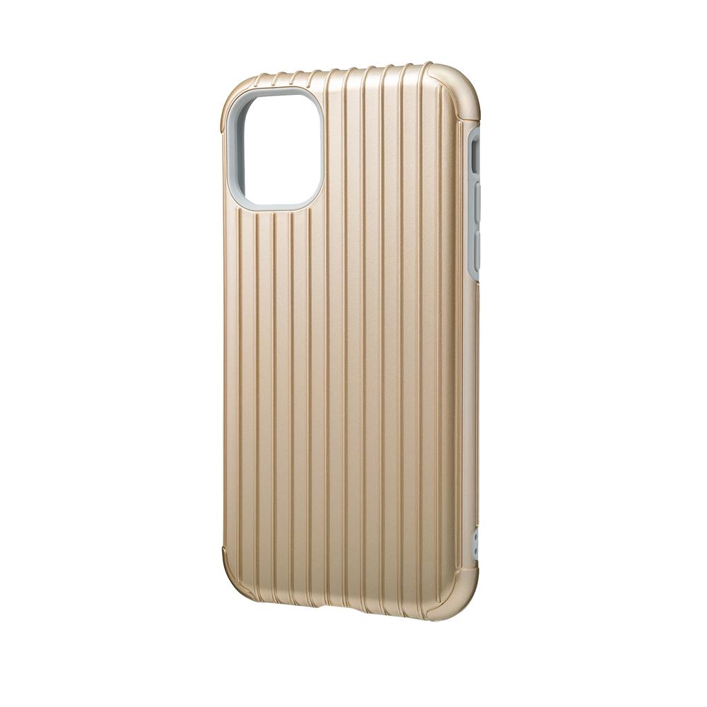 GRAMAS 東京職人工藝iPhone 11 (6.1吋)專用 雙料保護軍規防摔行李箱手機殼-Rib系列(金)