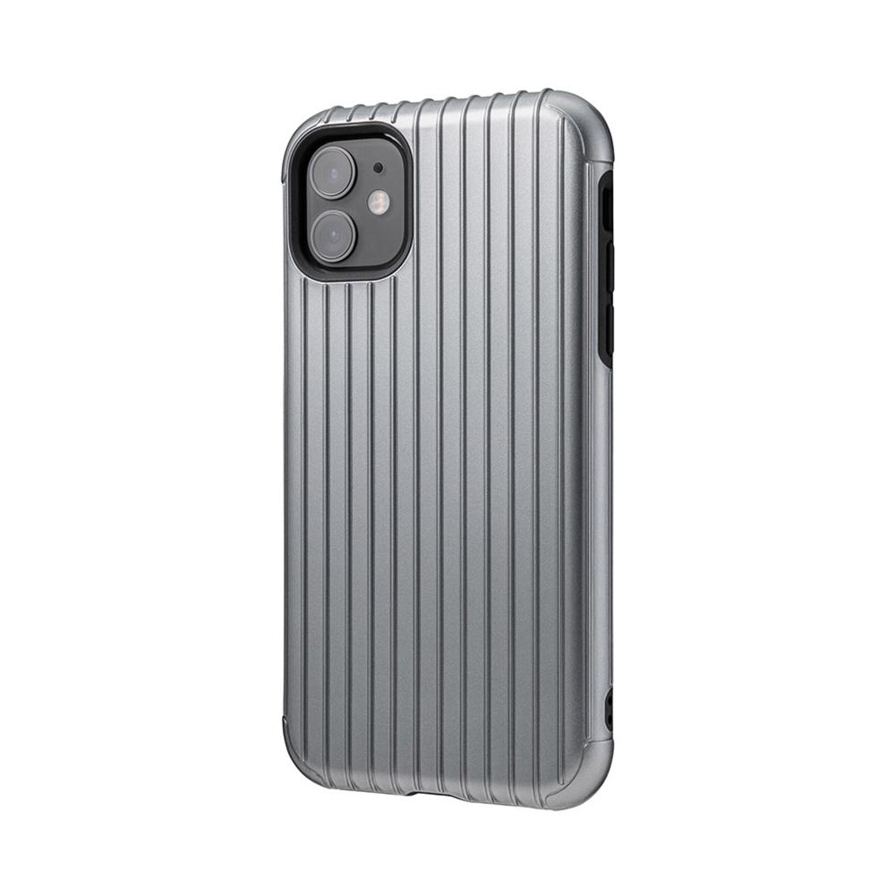 GRAMAS|東京職人工藝iPhone 11 (6.1吋)專用 雙料保護軍規防摔行李箱手機殼-Rib系列(灰)