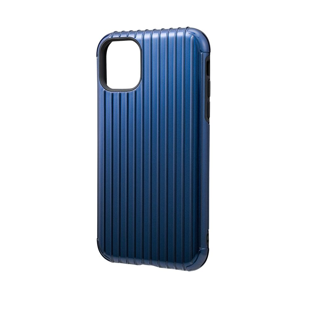 GRAMAS|東京職人工藝iPhone 11 (6.1吋)專用 雙料保護軍規防摔行李箱手機殼-Rib系列(藍)