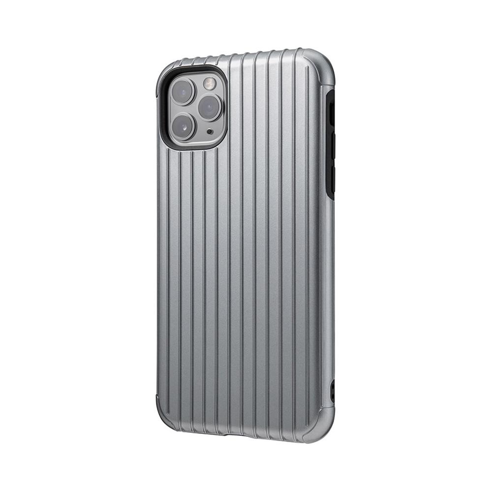 GRAMAS|東京職人工藝iPhone 11 Pro (5.8吋)專用 雙料保護軍規防摔行李箱手機殼-Rib系列(灰)