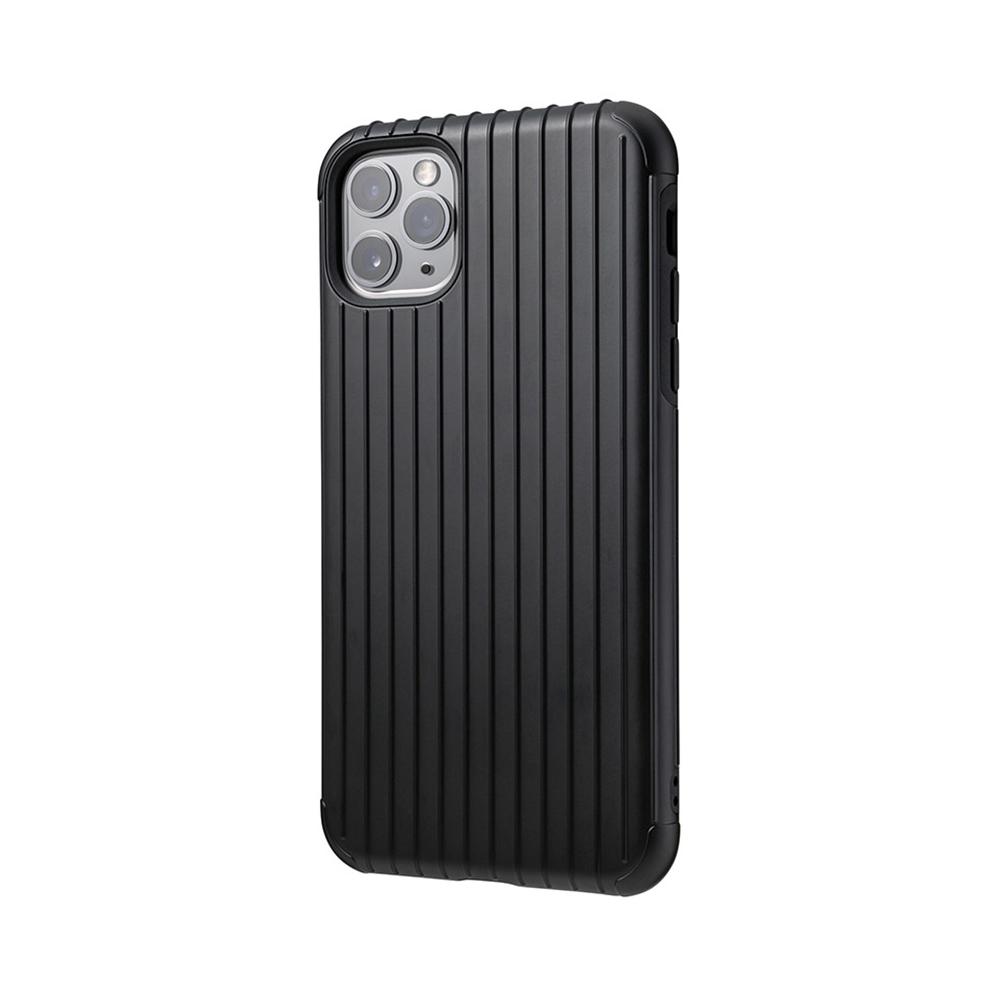 GRAMAS 東京職人工藝iPhone 11 Pro Max (6.5吋)專用 雙料保護軍規防摔行李箱手機殼-Rib系列(黑)