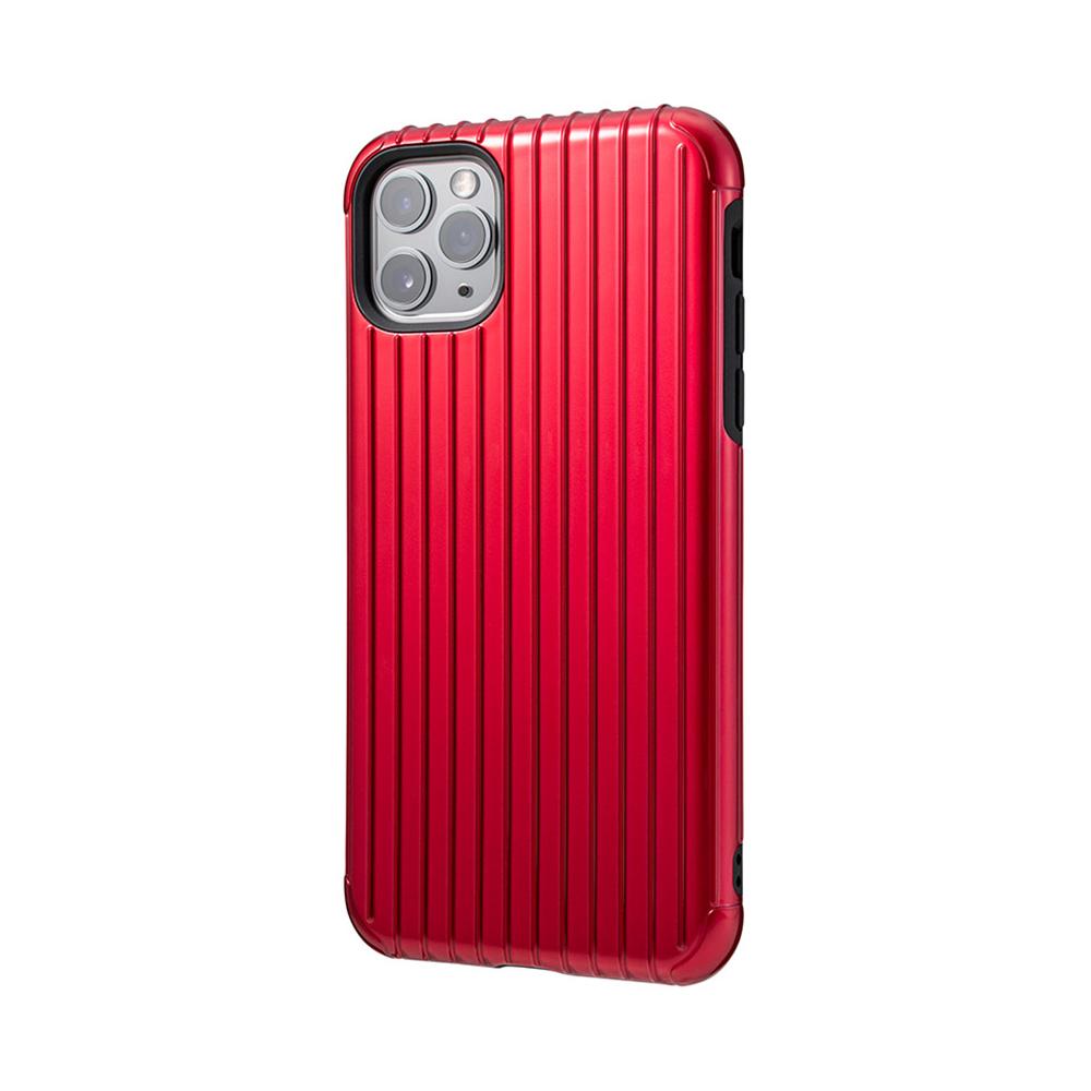 GRAMAS 東京職人工藝iPhone 11 Pro Max (6.5吋)專用 雙料保護軍規防摔行李箱手機殼-Rib系列(紅)