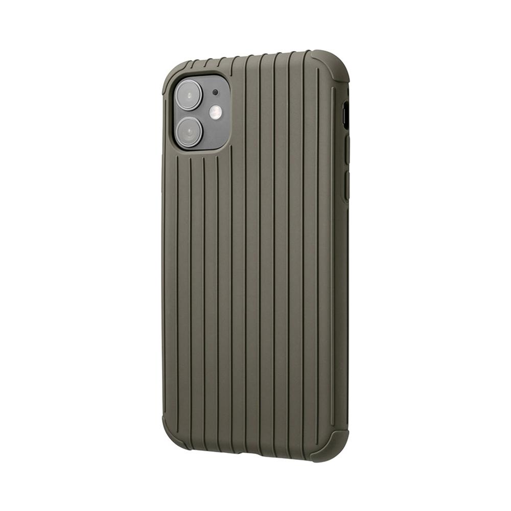 GRAMAS|東京職人工藝iPhone 11 (6.1吋)專用 耐衝擊羽量級行李箱手機殼-Rib Light系列(灰卡其)