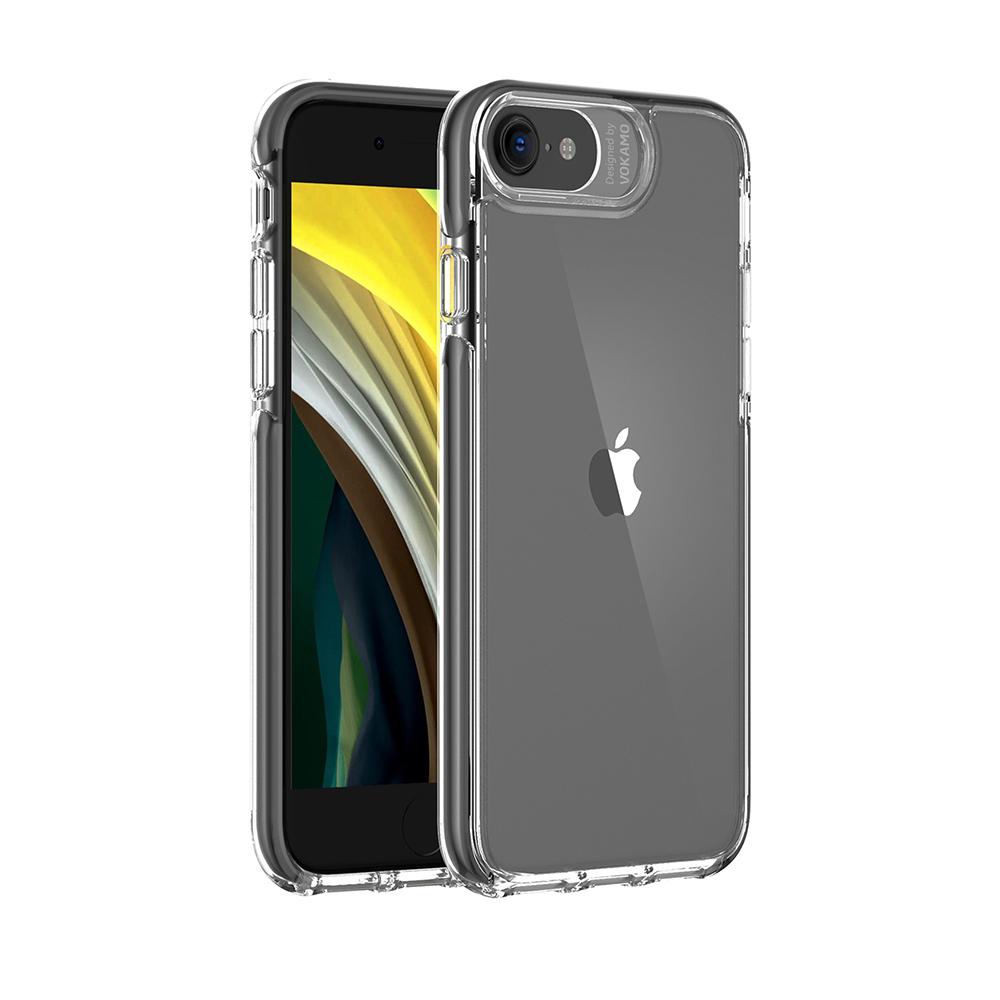 VOKAMO|Smult iPhone SE第2代/8/7(4.7吋)專用 軍規3.05米防摔晶透強化背蓋手機殼 防摔原料邊條-黑