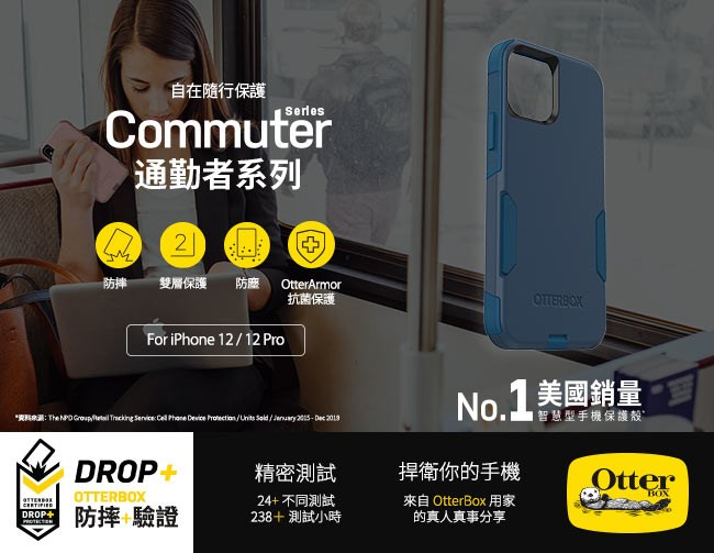 OtterBox iPhone 12/12 Pro (6.1吋)專用 雙層防摔吸震手機保護殼-Commuter通勤者系列■黑
