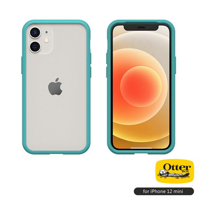 OtterBox iPhone 12 mini (5.4吋)專用 防摔吸震手機保護殼-React簡約輕量透明系列■藍/透明