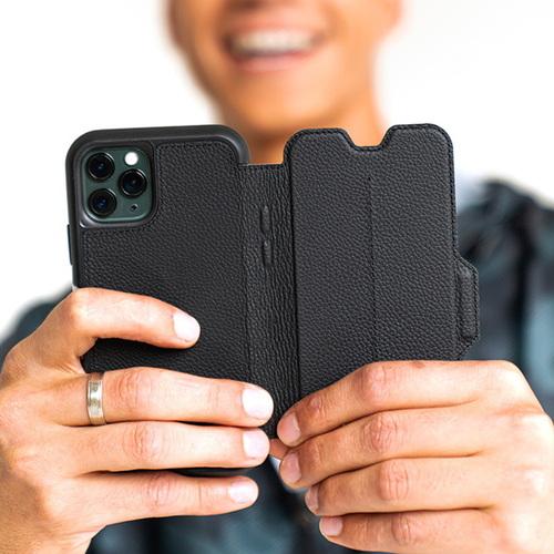 OtterBox iPhone 12 mini (5.4吋)專用 真皮掀蓋防摔吸震保護殼-Strada步道者系列-黑