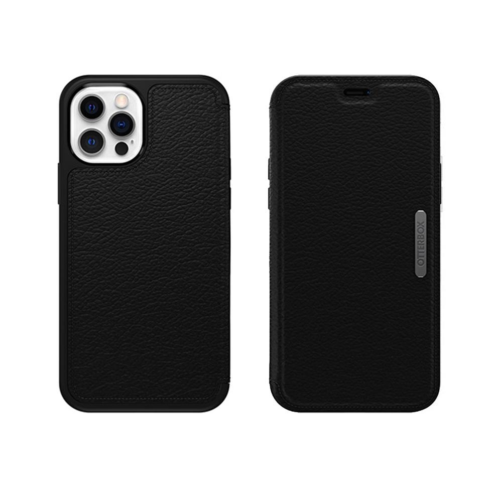 OtterBox iPhone 12/12 Pro (6.1吋)專用 真皮掀蓋防摔吸震保護殼-Strada步道者系列-黑