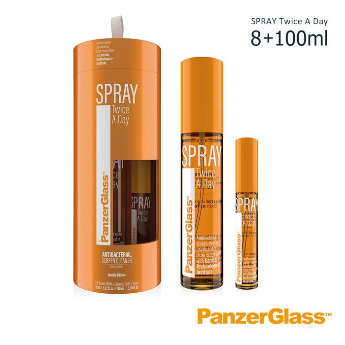 PanzerGlass|SPRAY Twice A Day 歐盟認證天然抗菌3C螢幕清潔液 -親子組合8ml+100ml