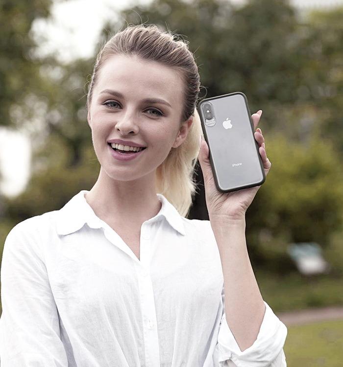 VOKAMO|Graceful 防摔衣原料軍規2.5米防摔透明背蓋手機殼 iPhone XS/X (5.8吋)專用 軍綠邊框