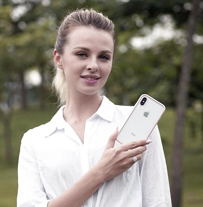 VOKAMO|Graceful 防摔衣原料軍規2.5米防摔透明背蓋手機殼 iPhone XS Max (6.5吋)專用 粉紅邊框
