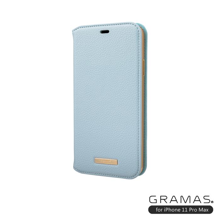 GRAMAS|東京職人工藝iPhone 11 Pro Max (6.5吋)專用 時尚掀蓋式皮套手機殼-Shrink系列(淺藍)