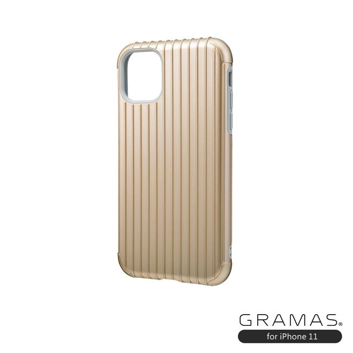 (複製)GRAMAS 東京職人工藝iPhone 11 (6.1吋)專用 雙料保護軍規防摔行李箱手機殼-Rib系列(黑)