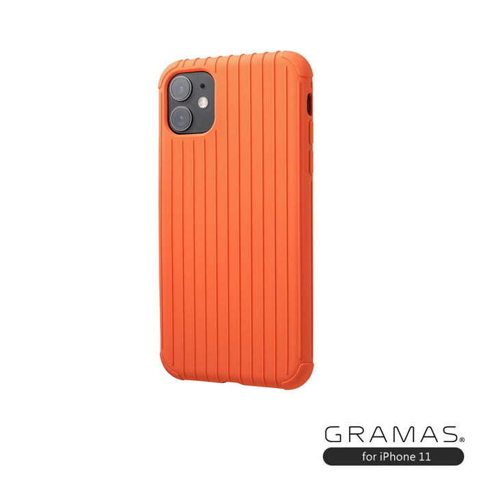 GRAMAS|東京職人工藝iPhone 11 (6.1吋)專用 耐衝撃羽量級行李箱手機殼-Rib Light系列(橘)
