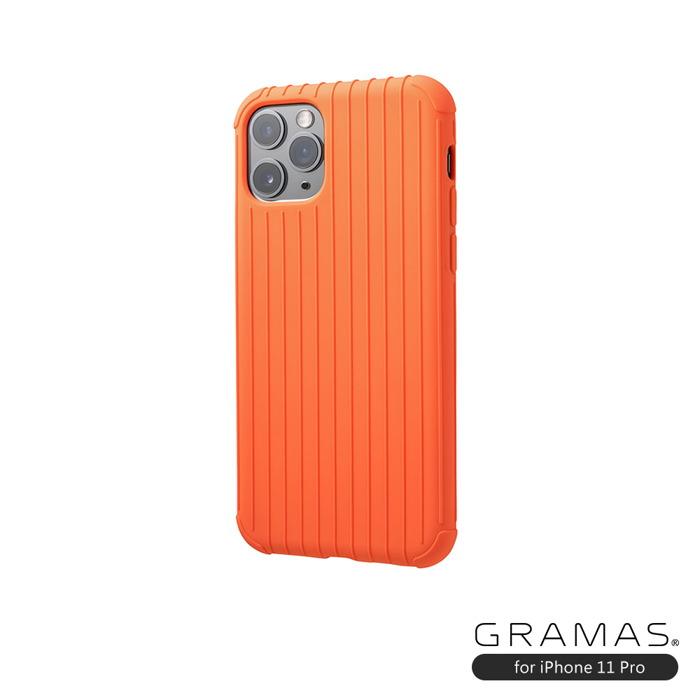 GRAMAS 東京職人工藝iPhone 11 Pro (5.8吋)專用 耐衝撃羽量級行李箱手機殼-Rib Light系列(橘)