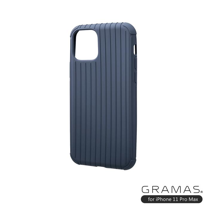 GRAMAS 東京職人工藝iPhone 11 Pro Max (6.5吋)專用 耐衝撃羽量級行李箱手機殼-Rib Light系列(藍)